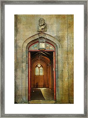 Entrance To The Gothic Revival Chapel. Streets Of Dublin. Painting Collection Framed Print