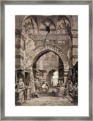 Entrance To The Khan El-khalili Souk In Cairo, In The 19th Century, From El Mundo Ilustrado Framed Print by European School