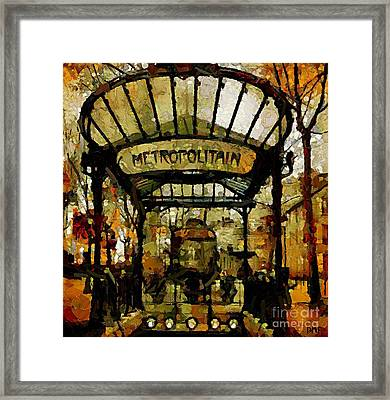 Entrance To The Paris Metro Framed Print