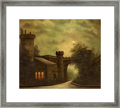 Entrance To Towneley Park, By Moonlight Framed Print by English School
