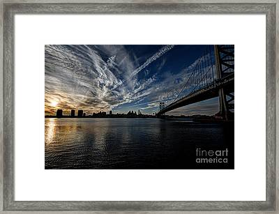 Entropy - Philly Skyline And The Ben Franklin Bridge Framed Print by Mark Ayzenberg