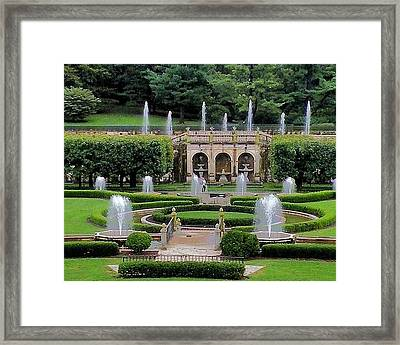 Entry Fountains At Longwood Gardens Framed Print by Kim Bemis