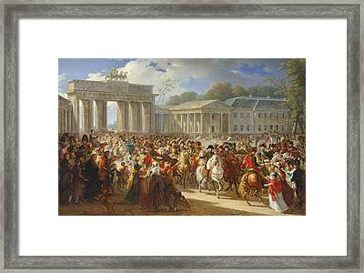 Entry Of Napoleon I 1769-1821 Into Berlin, 27th October 1806, 1810 Oil On Canvas Framed Print by Charles Meynier