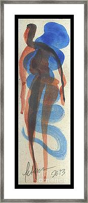 Entwined Figures Series No. 2 Blue Unknown Framed Print by Cathy Peterson