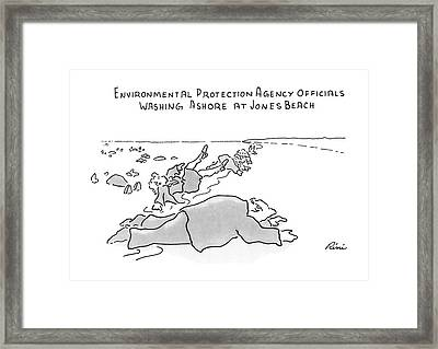 Environmental Prodection Agency Officials Washing Framed Print by J.P. Rini