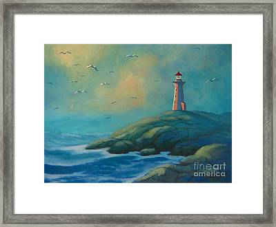 Envisioning Peggys Cove Lighthouse Framed Print by John Malone