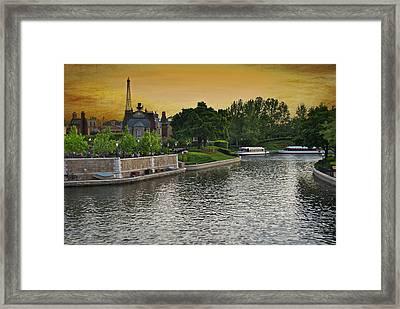 Epcot Boat Ride Disney World Textured Sky Framed Print