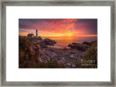 Epic Sunrise At Portland Head Light Framed Print by Benjamin Williamson