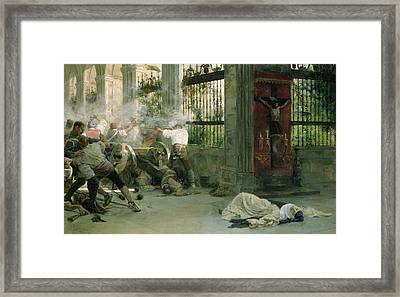 Episode From The War Of Independence, 1892 Oil On Canvas Framed Print by Eugenio Alvarez Dumont