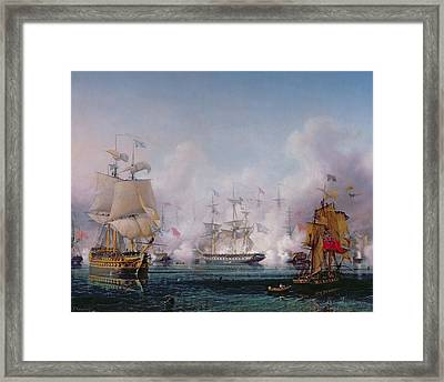 Episode Of The Battle Of Navarino Framed Print by Ambroise-Louis Garneray
