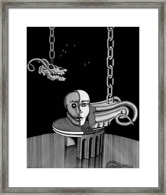 Framed Print featuring the drawing Epochal Connection by Geni Gorani