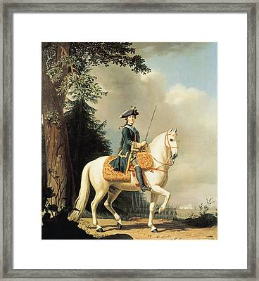 Equestrian Portrait Of Catherine II 1729-96 The Great Of Russia Oil On Canvas Framed Print