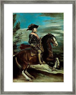 Equestrian Portriat Of King Philip Iv Of Spain Framed Print