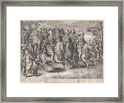 Equestrian Procession Of The Six Princes Of The House Framed Print by Willem Jacobsz. Delff And Jan Pietersz. Van De Venne