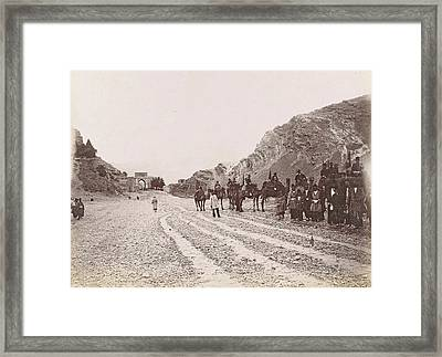 Equestrian Society Road In The Mountains Of Persia Framed Print