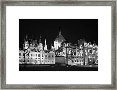 Equestrian Statue And Hungarian Parliament Bw Framed Print by Joan Carroll