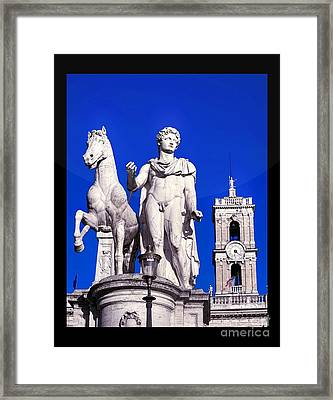 Equestrian Statue At Capitoline Hill Framed Print by Stefano Senise