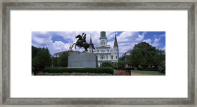 Equestrian Statue In Front Framed Print by Panoramic Images