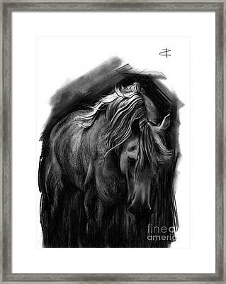 Framed Print featuring the drawing Equine 1 by Paul Davenport