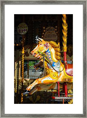Equine Nostalgia - Horse On A Victorian Carousel Framed Print
