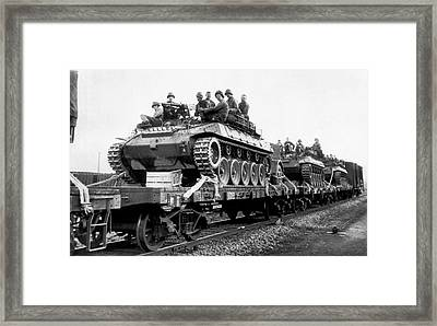Equipment To The Korean Front Framed Print by Underwood Archives