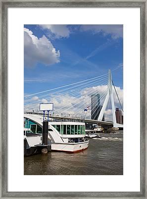 Erasmus Bridge In Rotterdam City Downtown Framed Print by Artur Bogacki