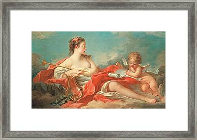 Erato  The Muse Of Love Poetry Framed Print by Francois Boucher