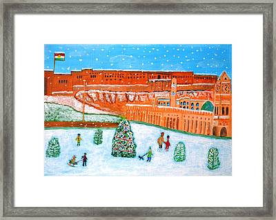 Framed Print featuring the painting Erbil Citadel Christmas  by Magdalena Frohnsdorff