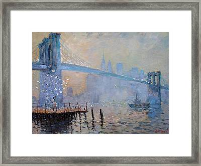 Erbora And The Seagulls Framed Print by Ylli Haruni
