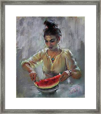 Erbora With Watermelon Framed Print by Ylli Haruni
