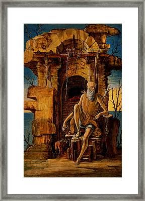 Ercole De Roberti - Saint Jerome In The Wilderness Framed Print by MotionAge Designs