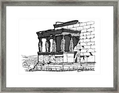 Framed Print featuring the drawing Erechtheion Caryatids by Calvin Durham