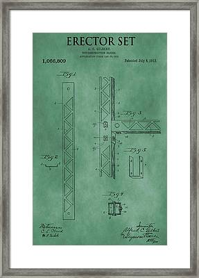 Erector Set Patent Green Framed Print
