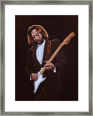 Eric Clapton Painting Framed Print by Paul Meijering