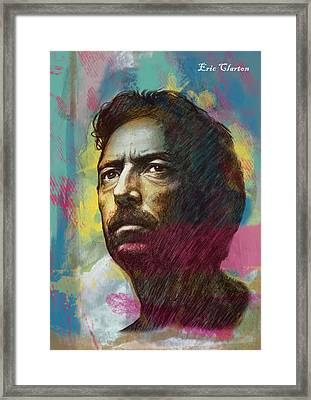 Eric Clapton Stylised Pop Art Drawing Poster Framed Print by Kim Wang