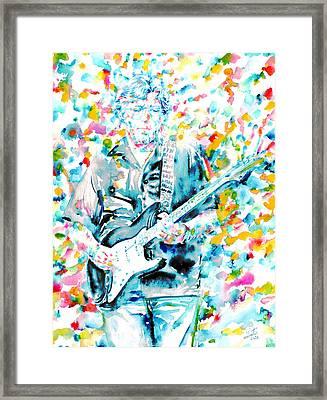 Eric Clapton - Watercolor Portrait Framed Print by Fabrizio Cassetta