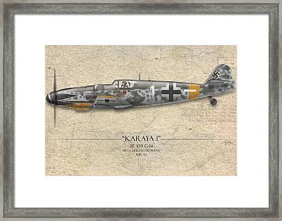 Erich Hartmann Messerschmitt Bf-109 - Map Background Framed Print by Craig Tinder