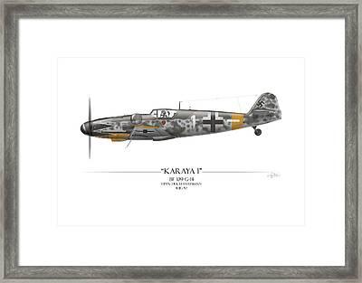 Erich Hartmann Messerschmitt Bf-109 - White Background Framed Print by Craig Tinder