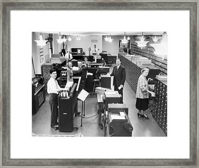 Erie Railroad Ibm Machine Room Framed Print by Underwood Archives