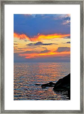 Framed Print featuring the photograph Erie Sunset by Jay Nodianos