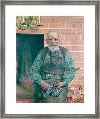 Erik Erikson The Blacksmith Framed Print by Carl Larsson