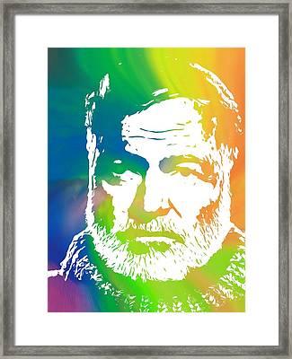 Ernest Hemingway Pop Art Framed Print by Dan Sproul