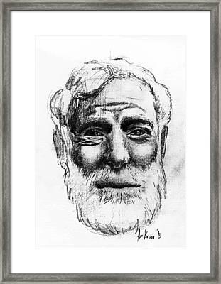 Ernest Hemingway Portrait  Framed Print by Alexandra-Emily Kokova