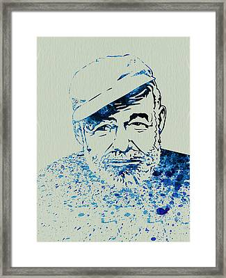 Ernest Hemingway Watercolor Framed Print by Naxart Studio