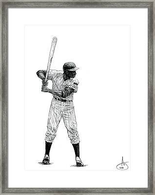 Ernie Banks Framed Print by Joshua Sooter