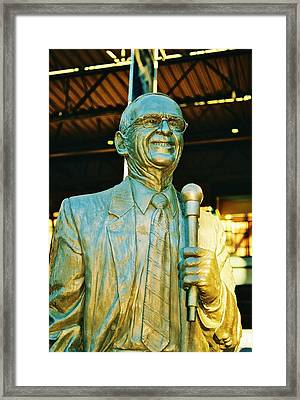 Ernie Harwell Statue At The Copa Framed Print