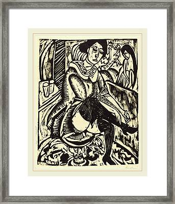Ernst Ludwig Kirchner, Woman Tying Her Shoe Frau Framed Print by Litz Collection