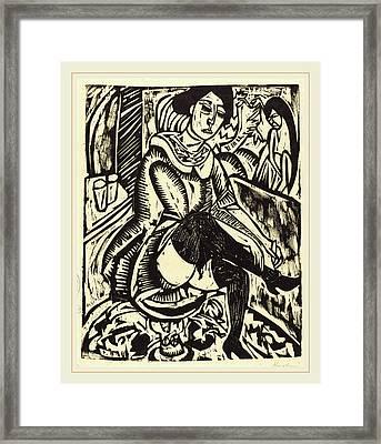 Ernst Ludwig Kirchner, Woman Tying Her Shoe Frau Framed Print