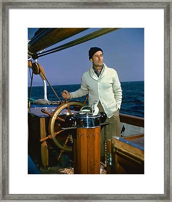 Errol Flynn In Cruise Of The Zaca  Framed Print