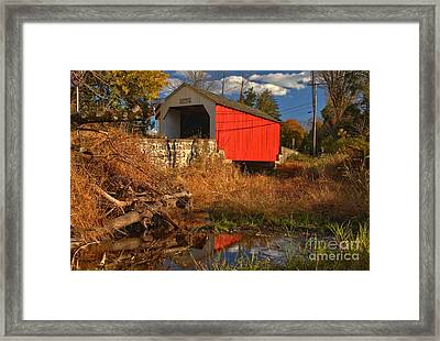 Erwinna Covered Bridge Reflections Framed Print by Adam Jewell